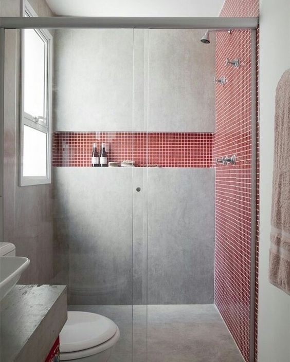 decoracao banheiro pastilha vermelho