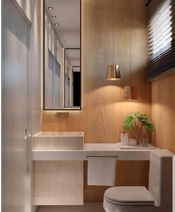 decoracao banheiros pequenos criativo luxo madeira
