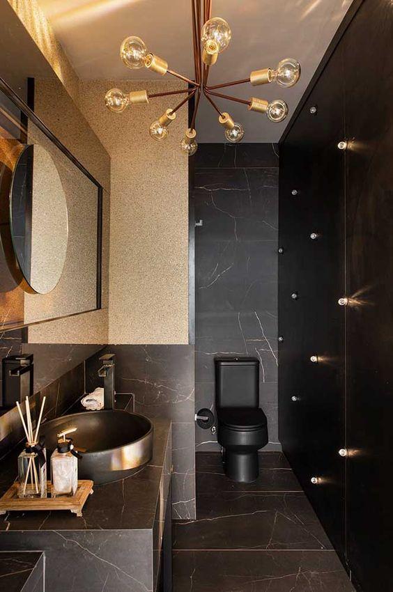 decoracao banheiros pequenos pretos luxos
