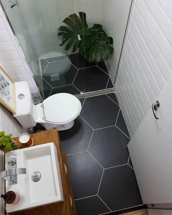 decoracao banheiros pequenos pretos