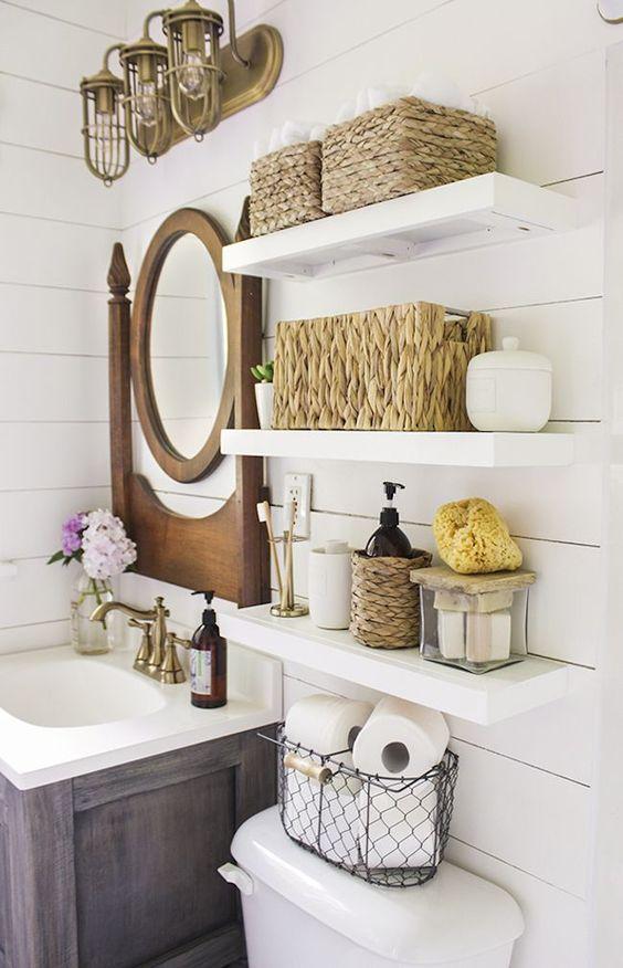 decoracao banheiros prateleiras