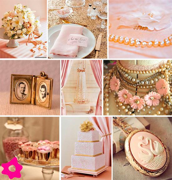 decoracao casamento rosa dourado creme