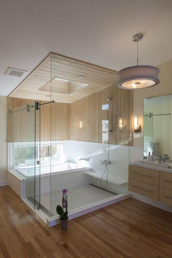 decoracao casas grandes banheiro madeira