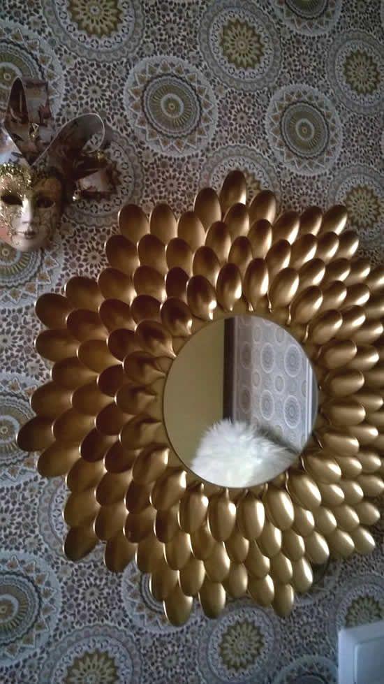 decoracao com colheres espelho