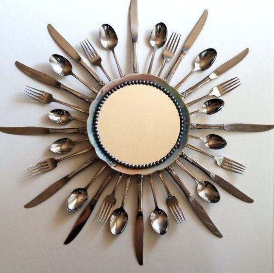 decoracao com colheres espelhos