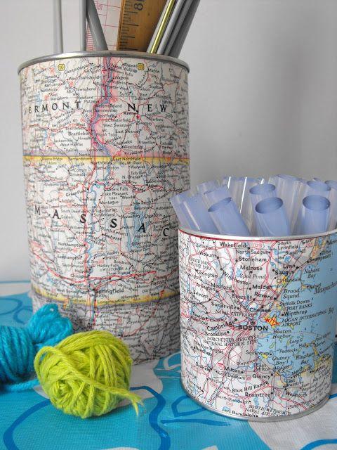 decoracao com mapas latas