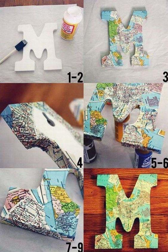 decoracao com mapas letras mfd