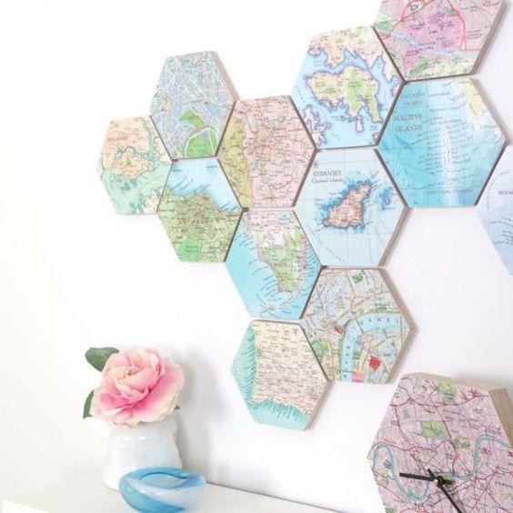 decoracao com mapas montagem
