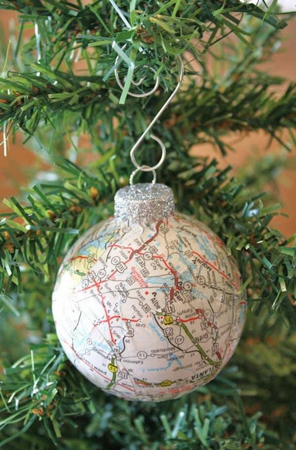 decoracao com mapas natal