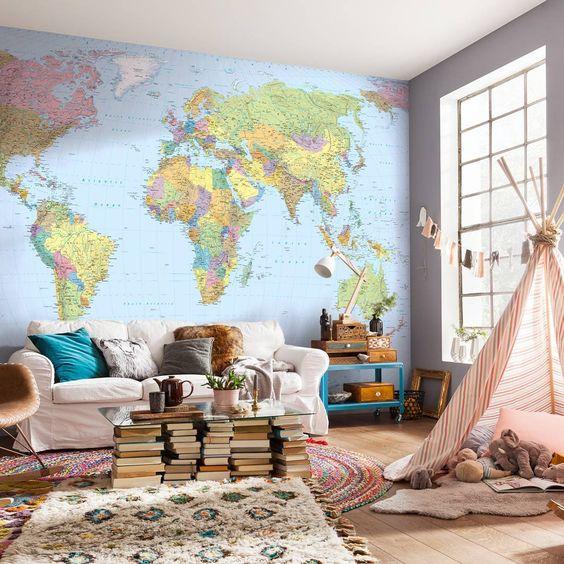 decoracao com mapas papel parede