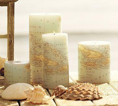 decoracao com mapas velas