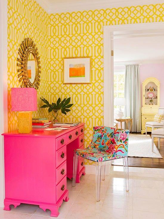 decoracao com moveis retro coloridos poltrona