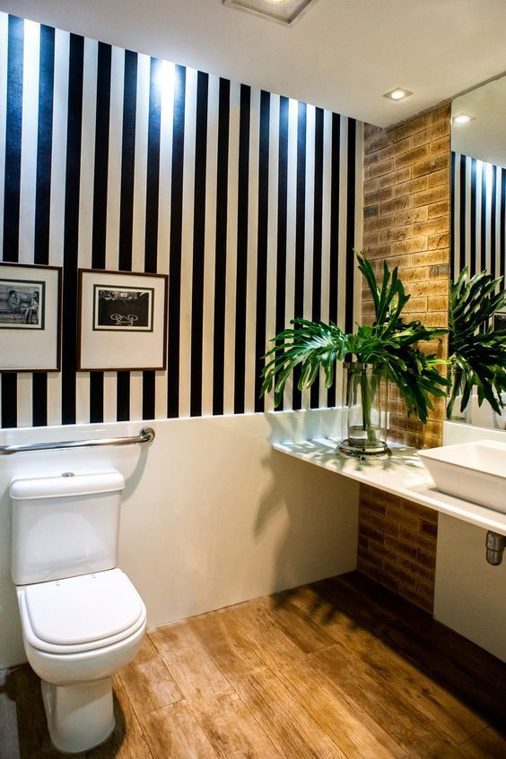 decoracao com papel de parede banheiro 1