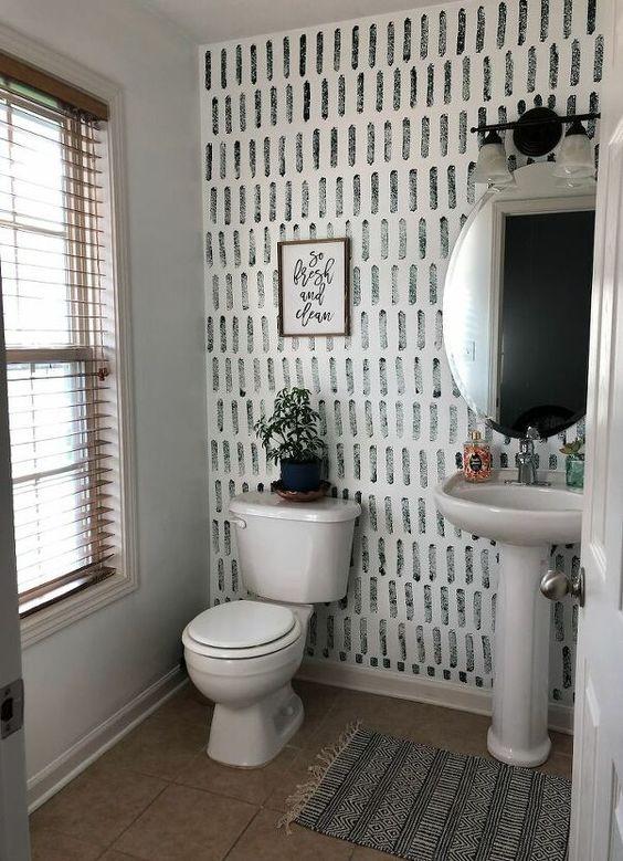 decoracao com papel de parede banheiro 10