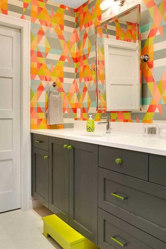 decoracao com papel de parede banheiro 2