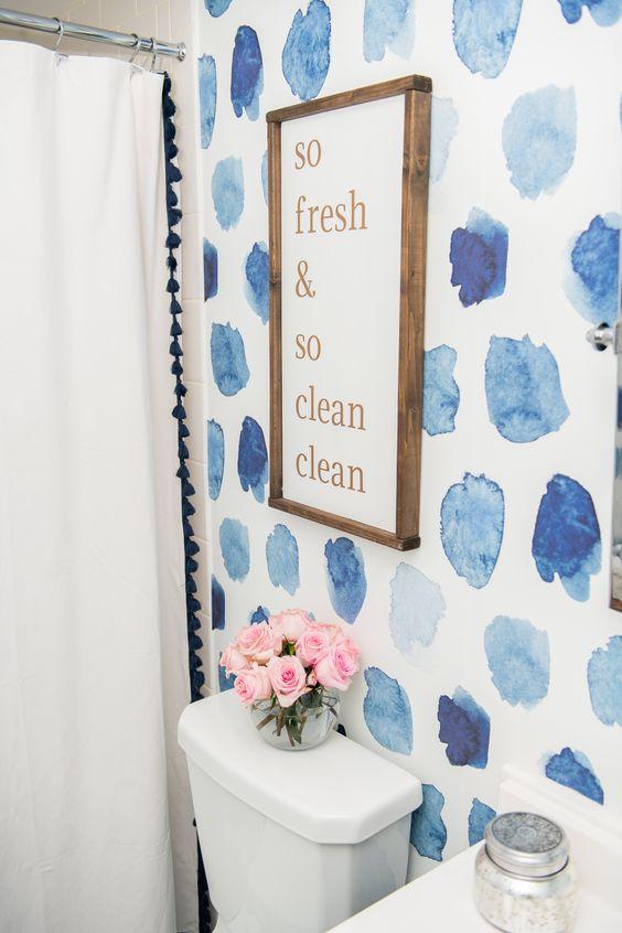 decoracao com papel de parede banheiro 5