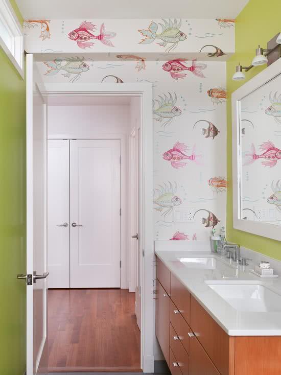 decoracao com papel de parede banheiro 6