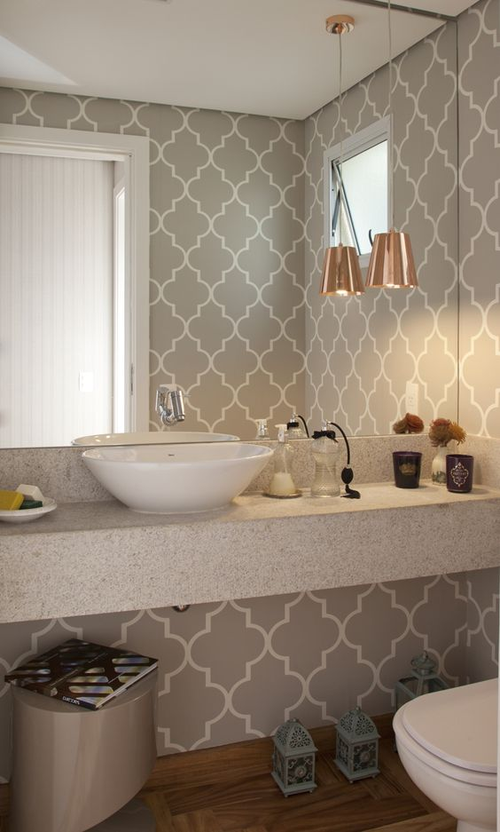 decoracao com papel de parede banheiro 7