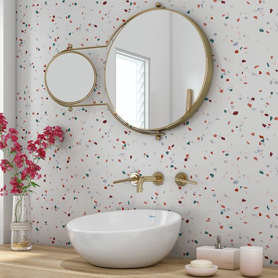 decoracao com papel de parede banheiro 9