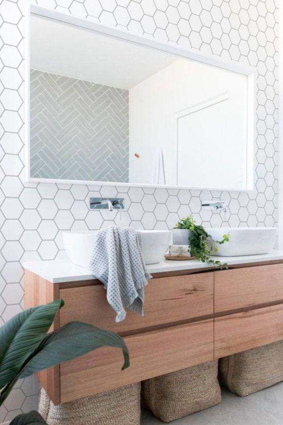 decoracao com papel de parede banheiro