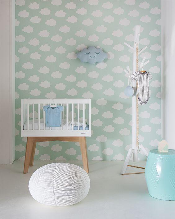 decoracao com papel parede nuvens