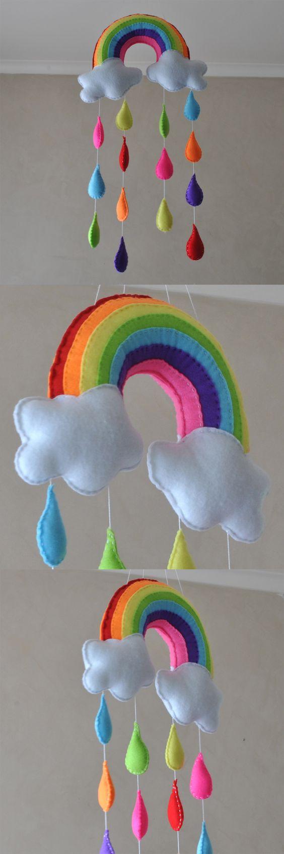 decoracao feltro quarto infantil arco iris