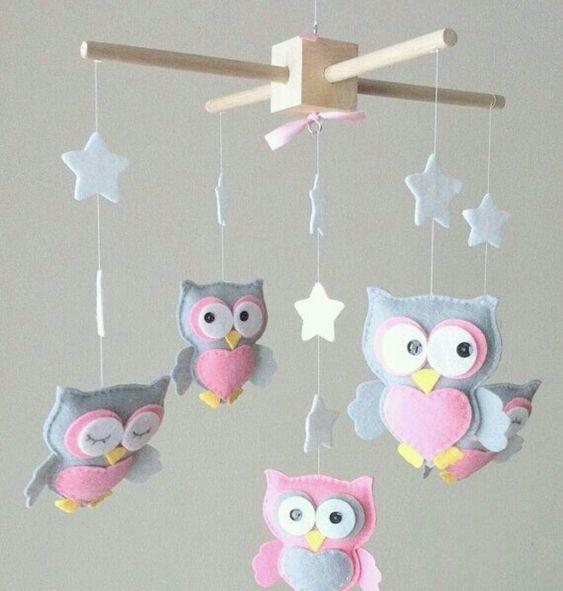decoracao feltro quarto infantil corujas
