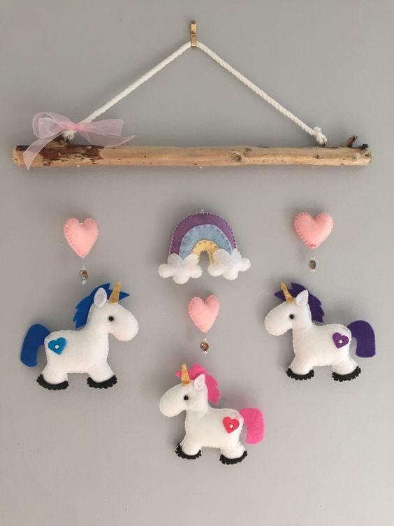 decoracao feltro quarto infantil unicornio