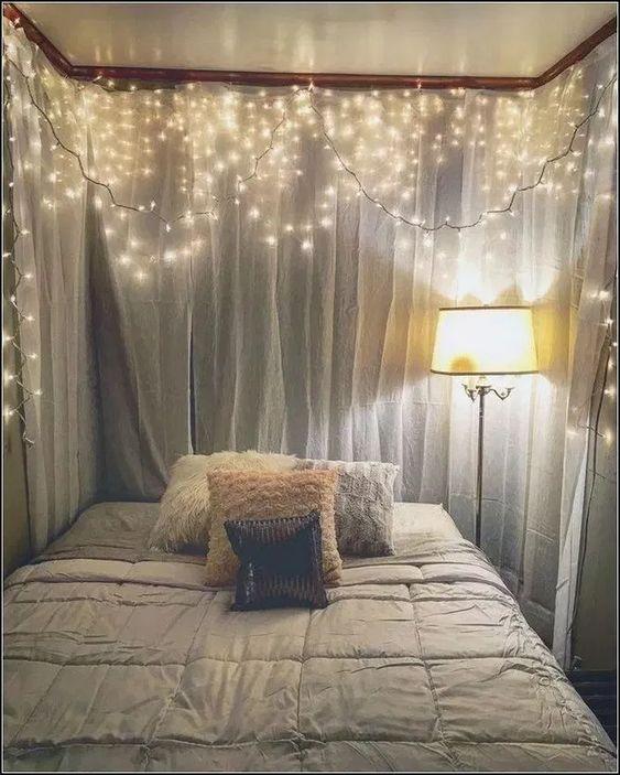decoracao fio luz cortina