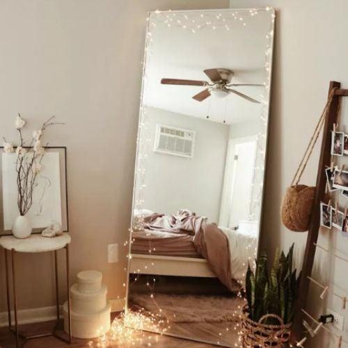 decoracao fio luz espelho