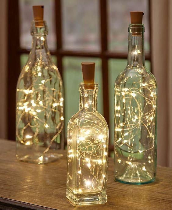 decoracao fio luz garrafas