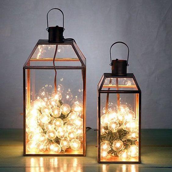 decoracao fio luz lanterna