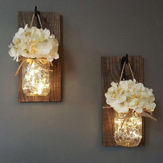 decoracao fio luz potes