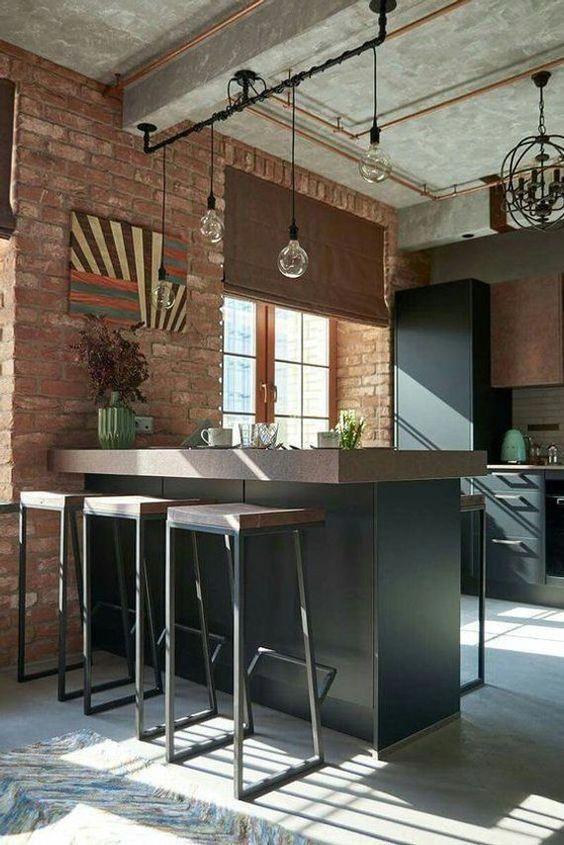 decoracao industrial apartamento cozinha