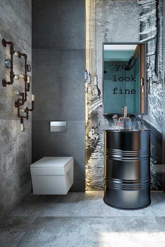 decoracao industrial banheiro ideias