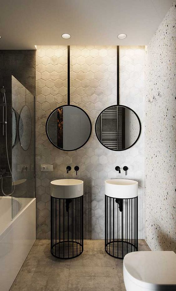 decoracao industrial banheiro preto
