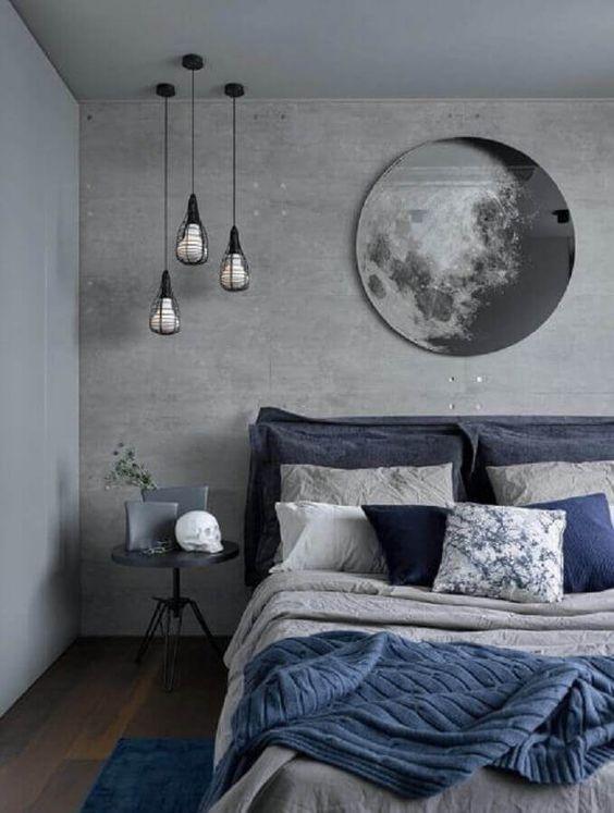 decoracao industrial quarto cimento