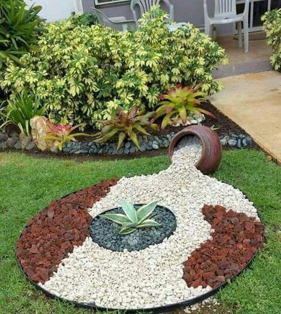 decoracao jardim externo pedras ideias