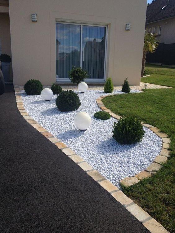 decoracao jardim externo pedras.plantas