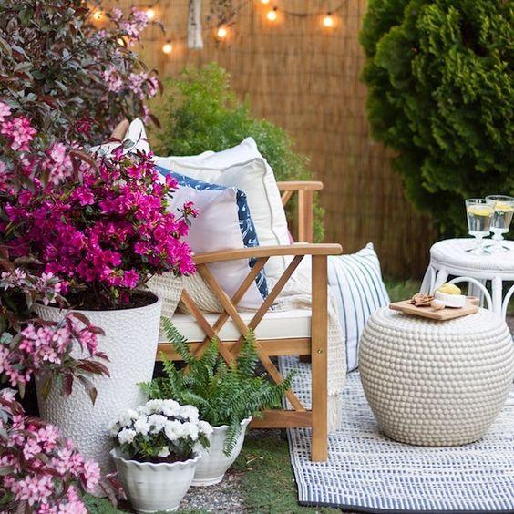 decoracao jardim externo pequeno moveis