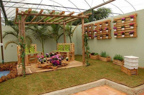 decoracao jardim simples pergolado