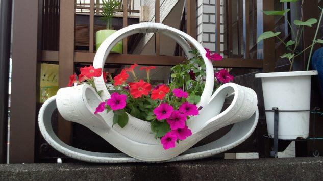 decoracao jardins pneus velhos 1