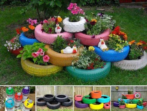 decoracao jardins pneus velhos 6