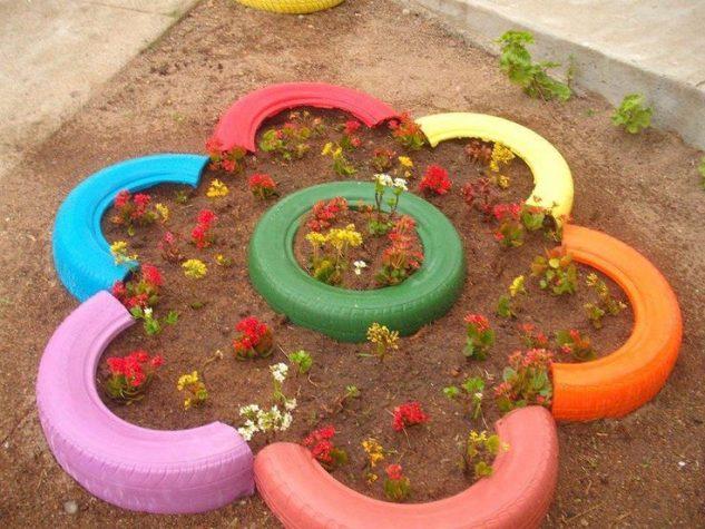 decoracao jardins pneus velhos