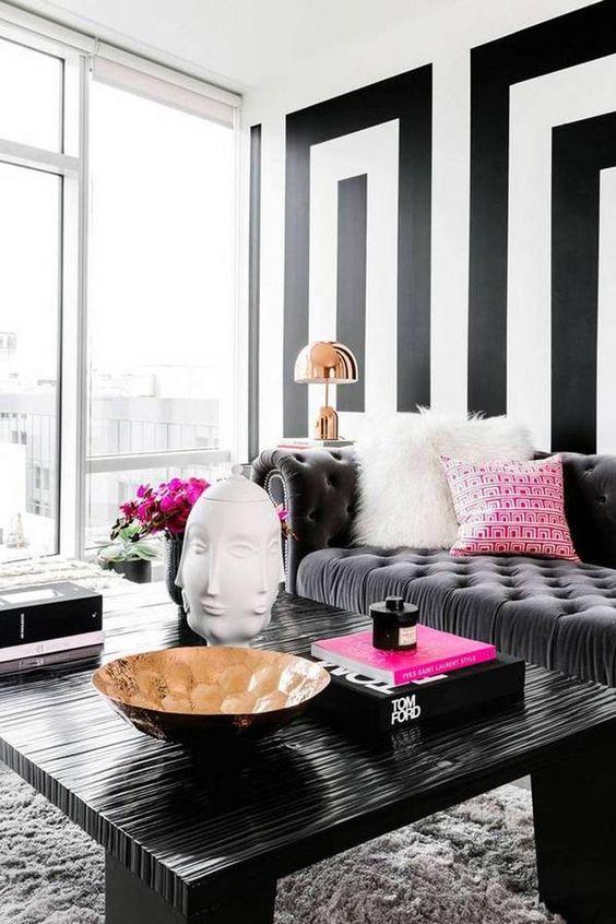 decoracao listras preto branco 11