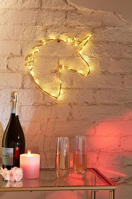 decoracao luzes led unicornio