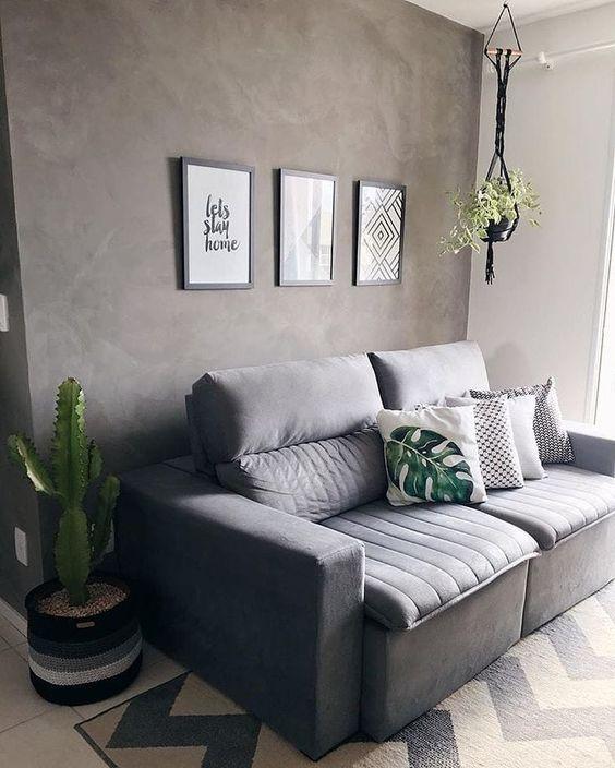 decoracao minimalista sala cimento