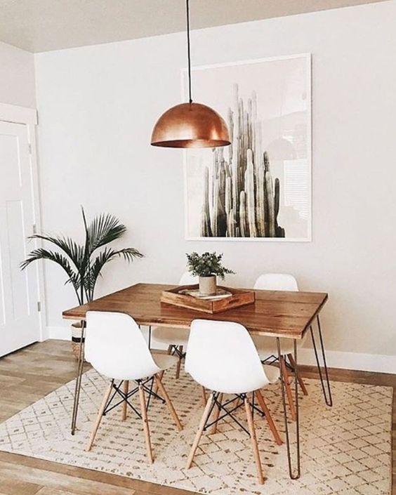 decoracao minimalista sala mesa