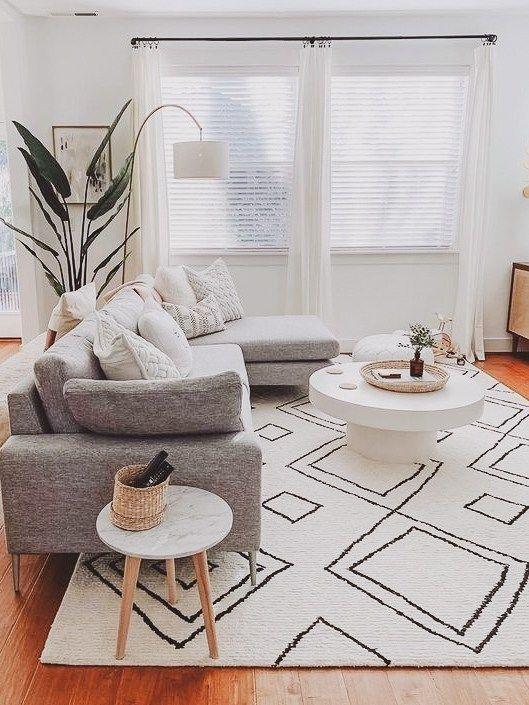 decoracao minimalista sala tapete