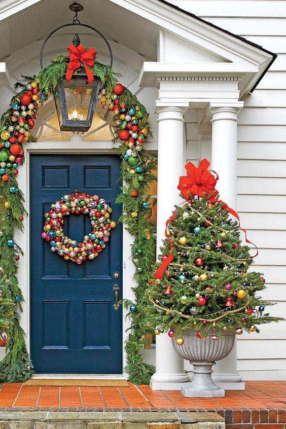 decoracao natal porta simples